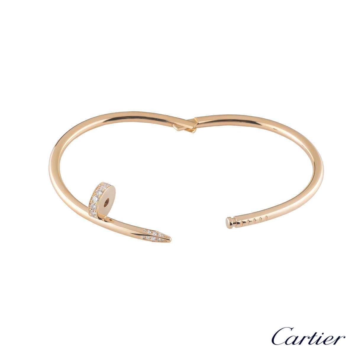 Cartier Rose Gold Diamond Juste Un Clou Bracelet Size 16 B6048516